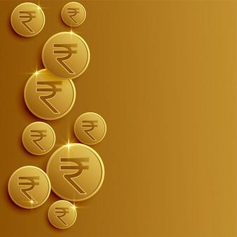 Rupia indiana moedas fundo com espaço de texto