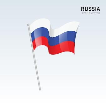 Rússia acenando bandeira isolada em cinza