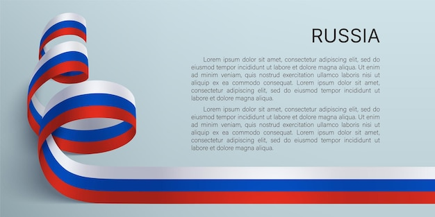 Rússia dia 12 de junho fundo com fita nas cores da bandeira nacional da federação russa em um fundo cinza