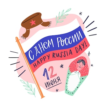 Rússia dia evento mão desenhada design
