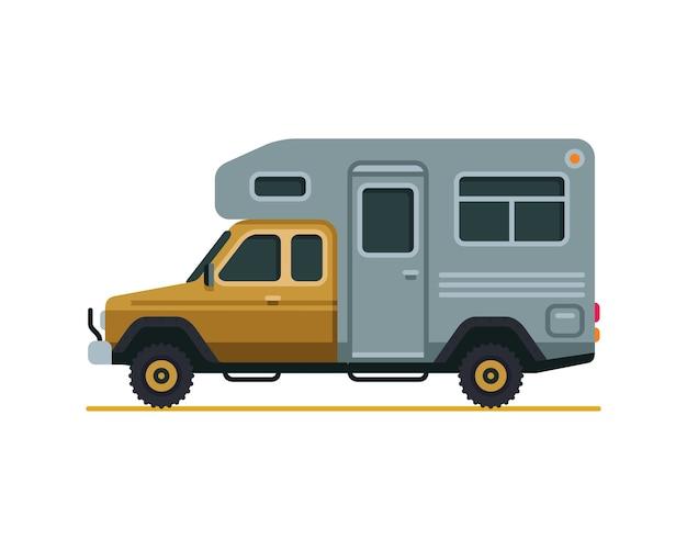 Rv camper van flat style vector illustration