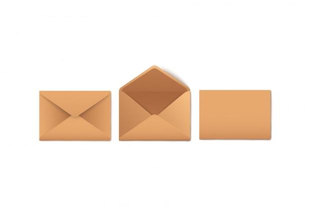 S conjunto de envelopes de papel kraft em branco aberto e fechado estilo realista