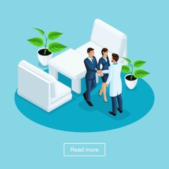 S cuidados de saúde e tecnologia inovadora, hospital, paciente agradecem ao médico pelo tratamento em uma clínica médica