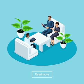 S cuidados de saúde e tecnologia inovadora, um hospital, um paciente com sua esposa se comunicando com um cirurgião e discutindo a operação