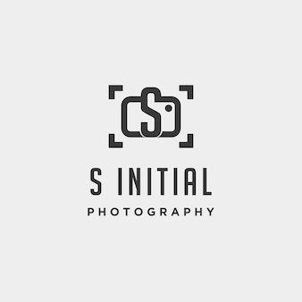 S fotografia inicial modelo de logotipo elemento de ícone de design de vetor