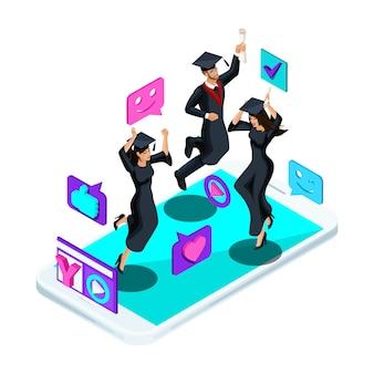 S graduados meninas e meninos, pulando alegrem-se, trajes acadêmicos, diploma, manto, atiram em video blog, emoticons, gostos, smartphone, transmissão de vídeo