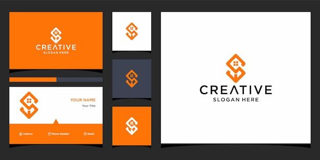 S home design de logotipo com modelo de cartão de visita