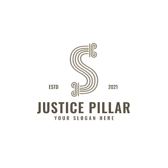 S letter logo law and justice pillar elegante ousado arte em linha geométrica