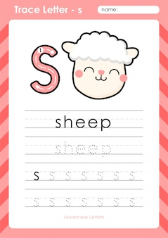 S ovelhas: planilha de letras de rastreamento az do alfabeto - exercícios para crianças