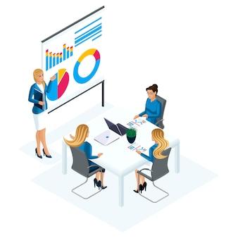 S treinamento para negócios, a empresária ensina um seminário sobre desenvolvimento de habilidades. treinador de negócios, estudantes, treinador, gráficos, renda, realização de objetivos