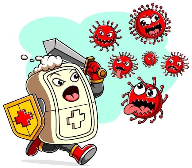 Sabão com coronavírus de luta de espadas