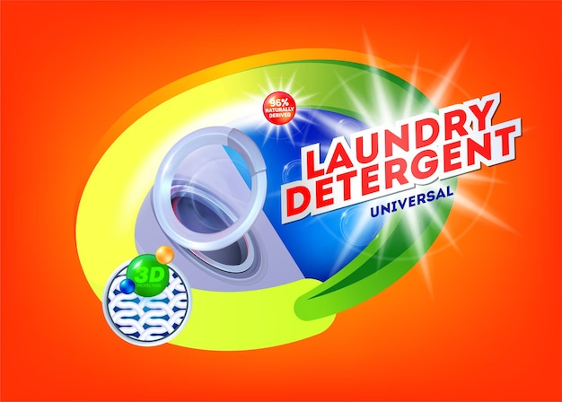 Sabão em pó para modelo de lavagem universal para design de embalagem de sabão em pó