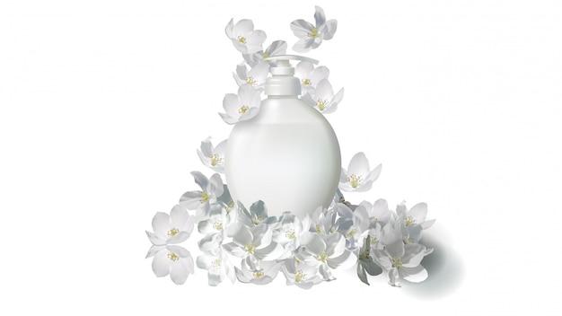 Sabão líquido cosmético realista com flor de jasmim