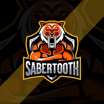 Sabertooth mascote logotipo e-sport design