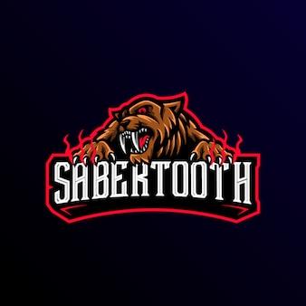 Sabertooth mascote logotipo esport gaming