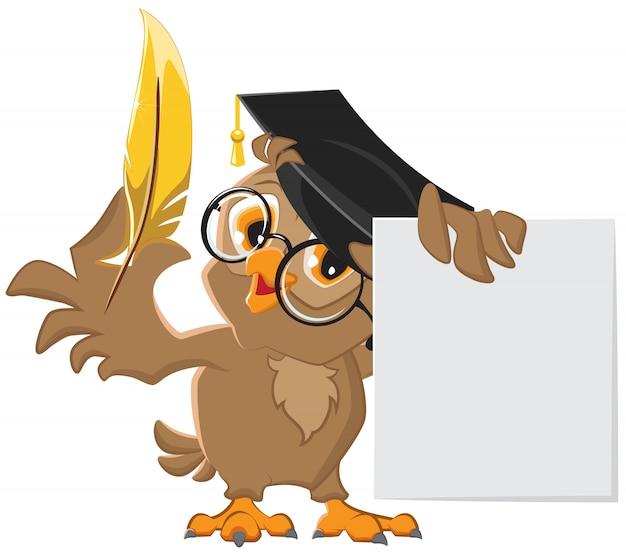 Sábia coruja segurando uma caneta dourada e uma folha de papel