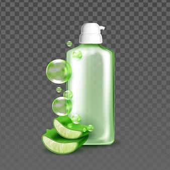 Sabonete líquido com vetor de ingrediente natural de aloe Vetor Premium
