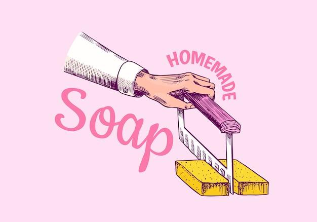 Sabonete para banho de espuma. mão em estilo vintage.
