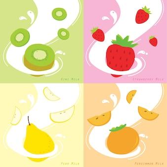 Sabor de leite morango kiwi persimmon pear vector