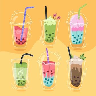 Sabores de chá de bolha desenhados à mão