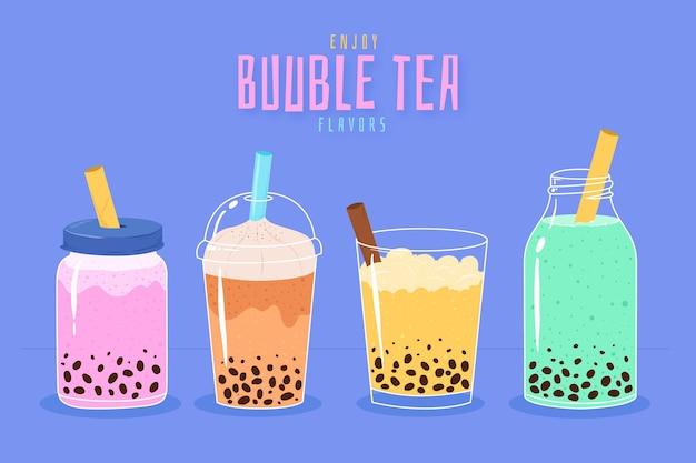 Sabores de chá de bolhas desenhados à mão