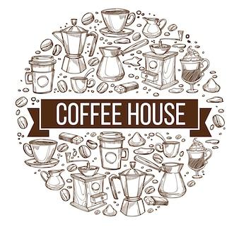 Saborosa cafeteria, banner isolado com diferentes tipos de bebidas, mocha e expresso, glacee e chá