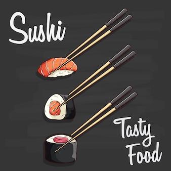 Saborosa comida de sushi ou conjunto de frutos do mar japonês e entre dois pauzinhos na lousa