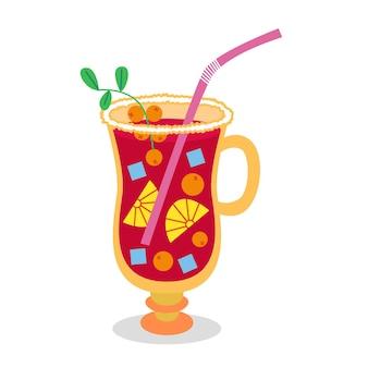 Saborosas bebidas de natal, bebida para festa de natal, ponche de frutas, frutas, canudo, coquetel, canudo