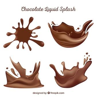 Saboroso chocolate respingo líquido em estilo realista