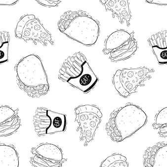 Saboroso doodle padrão sem emenda de fast food com hambúrguer batatas fritas e pizza