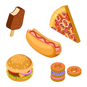 Saboroso fast-food isolado. ícones de vetor isométrico hambúrguer, sorvete, pizza, rosquinhas e cachorro-quente