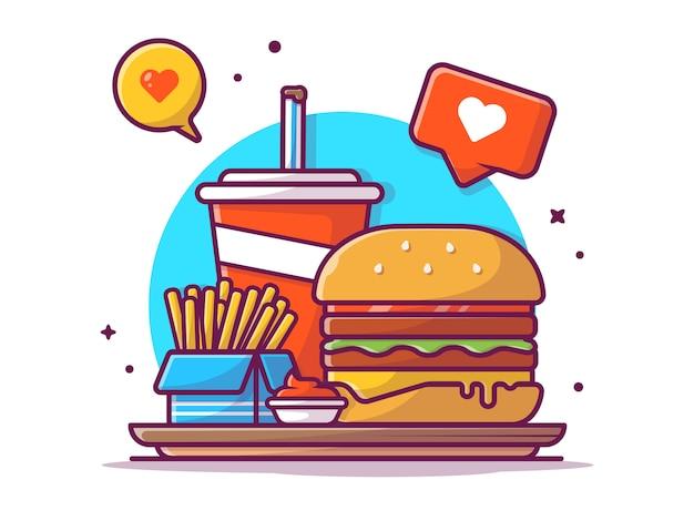 Saboroso menu combo hambúrguer, batata frita, refrigerante e molho com sinal de amor, ilustração branco isolado