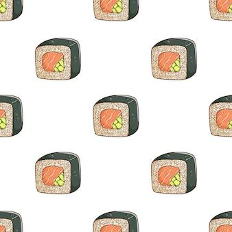 Saboroso sushi no padrão com estilo de desenho colorido
