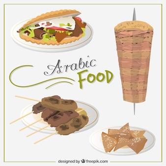 Saborosos menus comida árabe desenhados mão
