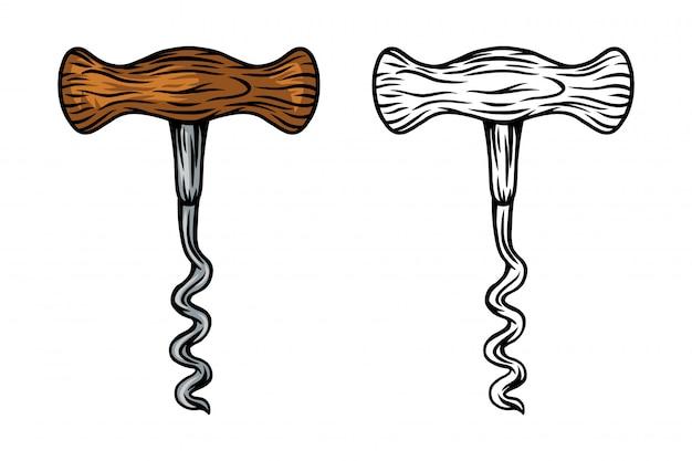 Saca-rolhas de vinho retrô vintage isolado ilustração vetorial