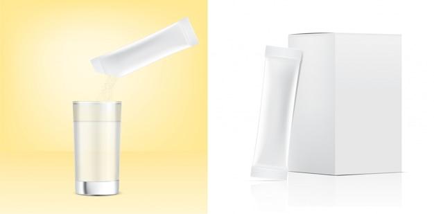Sachê 3d stick brilhante e despeje o pó no copo de água com caixa de papel. ilustração. alimentos e bebidas design de conceito de embalagem.