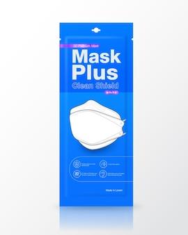 Sachê azul embalagem máscaras médicas em forma 3d