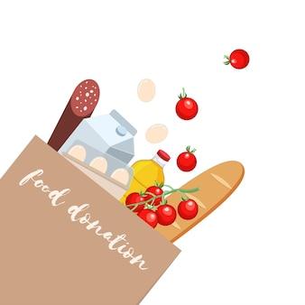 Saco artesanal de composição para doação de alimentos com diversos produtos