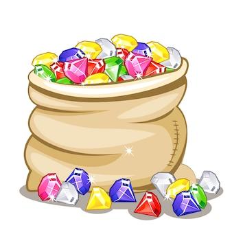 Saco cheio de pedras multicoloridas diamantes