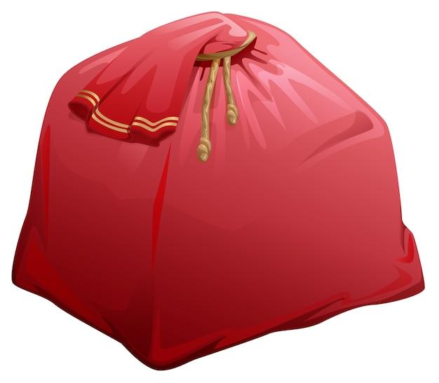 Saco cheio vermelho com presentes do papai noel. isolado na ilustração branca dos desenhos animados