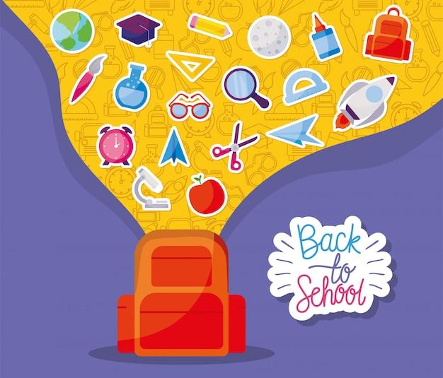 Saco com design de conjunto de ícones, tema de aula de educação de volta à escola
