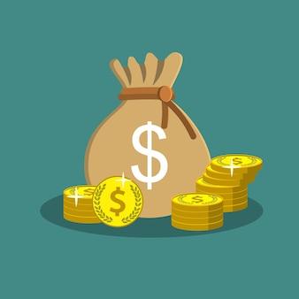 Saco com dinheiro em dólares