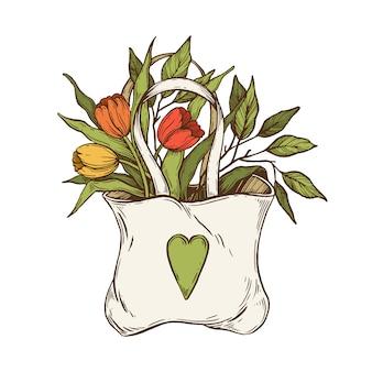 Saco com flores.