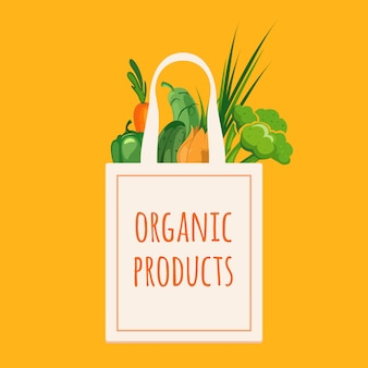 Saco com legumes orgânicos