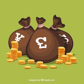 Saco com moedas de outros países