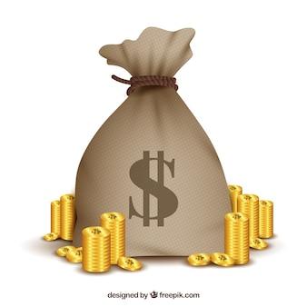 Saco com o símbolo do dólar e as moedas douradas