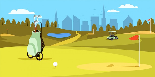 Saco com os clubes que estão no campo verde do golfe. esporte