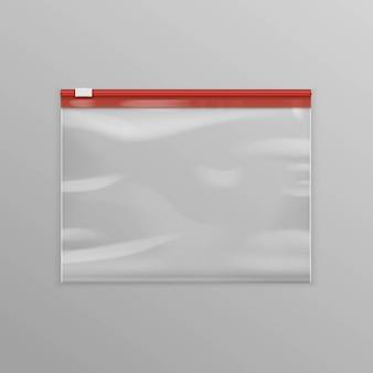 Saco com zíper de plástico transparente vazio selado em vetor vermelho
