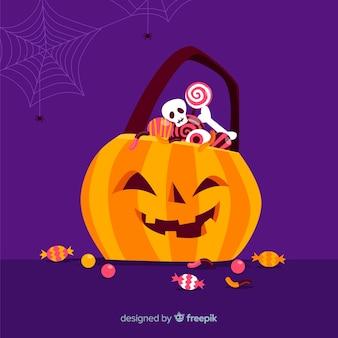 Saco de abóboras de halloween design plano