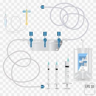 Saco de antibióticos intravenosos e conjunto de infusão de plástico.